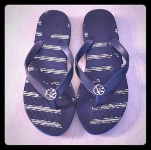 Coach Flip Flops - Navy & White